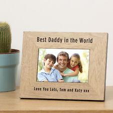 Personalised Best Daddy In The World Oak Veneer Wood Photo Frame 7x5 Birthday