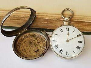 Antique-Good Silver Pair Cased Fusee Verge Pocket Watch-S Adcock-B'ham-c1862