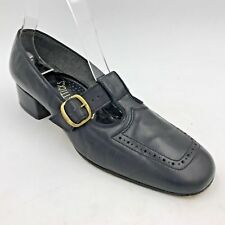 Vintage Enna Jetticks Black Leather T Strap Buckle Block Low Heels size 7.5N A2