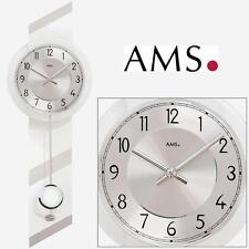 Ams 7414 Quartz Horloge murale avec pendule Boîtier en bois Verre Minéral