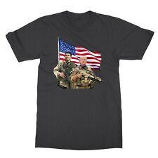 Presidential Soldiers: Ronald Reagan & Donald Trump USA Flag Men's T-Shirt