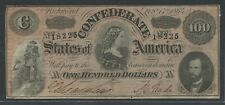 Csa #T-65 $100 1864 Lucy Pickens Note Conf States Of America Choice Au Bu6782