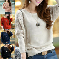 Fashion Women Solid Hollow Out Batwing Sleeve Sweater Casual Knitted Pullover M&