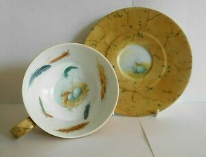 VINTAGE HUTSCHENREUTHER CUP AND SAUCER PAINTED WITH BIRD FEATHERS EGGS AND NEST