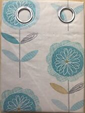"Lovely 90 x 90"" Teal Flowers 100% Cotton Lined Eyelet Curtains Cream Blue Summer"