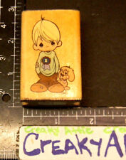 PRECIOUS MOMENTS BOY WITH PUPPY RIBBON RUBBER STAMP STAMPENDOUS 5551