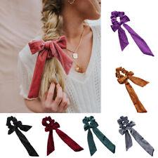 Lady Girl Velvet Ribbon Ropes Hair Ties Bow Elastic Hair Band Scrunchie Ponytail