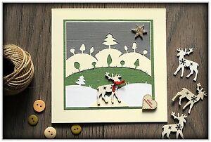 Beautiful LUXURY Handmade Christmas Greeting Card with envelope REINDEER IN SNOW