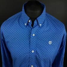 Timberland Mens Shirt MEDIUM Long Sleeve Blue SLIM FIT  Cotton