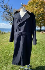 Vtg Trench Coat Pierre Cardin Removable Leather Collar and Lining 36R Mens Blue