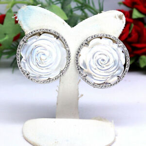 NATURAL WHITE MOTHER OF PEARL ROSE CARVED & CZ EARRINGS 925 STERLING SILVER