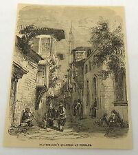 1859 magazine engraving ~ SLAVEDEALER'S QUARTERS AT TOPHANE~ Istanbul, Turkey