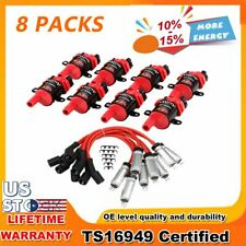 8 PACK Round Type Ignition Coils And Spark Plug Wire Fit for Chevy GMC Cadillac