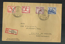 1936 Berlin Germany Olympics Stamps Cancel Cover to Czechoslovakia Registered