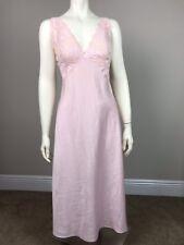 Natori Designer Silky Women's S Pink Slip Night Gown Lace Top Sheer Back EUC