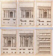 Stampe antiche ARCHITETTURA SERIE di 6 COLONNE PORTICI S. 4 1757 Antique print
