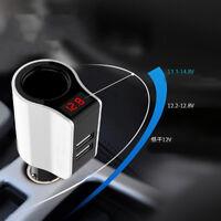 2USB Car auto Camper Cigarette Lighter Socket Charger Volt meter fast chargering