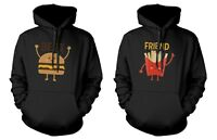 Burger and Fries BFF Hoodies Best Friend Matching Pullover Hooded Sweatshirts