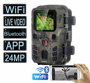 Live Video WiFi Bluetooth Trail Camera 24MP 1296P Glow IR Night Vision Outdoor
