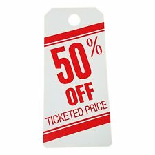 500 - 50% OFF Ticketed Price Large Sale Tag Fifty Percent Heavy Duty Paper Cards