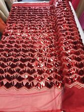 RED CHEVRON EMBROIDERY WITH LONG SEQUINS ON A MESH-SOLD BY THE YARD.