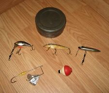 LOT OF Vintage Fishing Lures & 1 Bobber in Tin Box - Finland, Heddon, & More