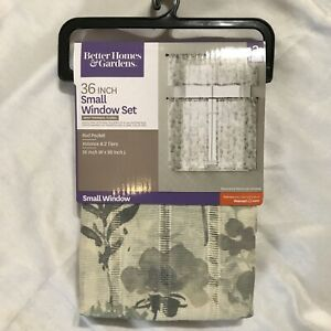 Better Homes & Garden 3 pc set  Small Window Curtains Grey Tranquil Floral NEW