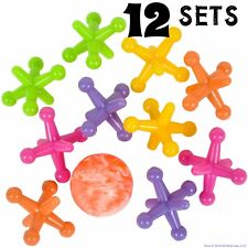 12 SETS - LARGE SIZE NEON JACKS AND RUBBER BOUNCE BALL GAME CLASSIC KIDS TOY