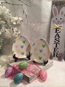 SET OF 2 Mesa Home Products Pastel Colored Easter Egg Luncheon Plates