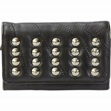 BLACK Lambskin LEATHER STUDDED RIVETS BI-FOLD WALLET Photo Holder Biker Billfold