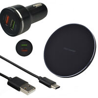 Wireless Charger Pad & Fast Dual USB Car Charging Cable Kit For Android Phone