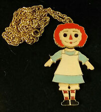 Raggedy Ann Pendant ART Enamel Jointed Moving Necklace Chain Vintage 1960's