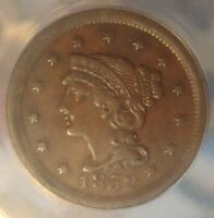 1852 One Cent Braided Hair 1C - ANACS graded - VF 35 Details Polished