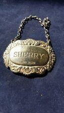 Sterling Silver Sherry Bottle / Decanter Label  - 12g. Birmingham