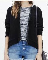 Madewell Small Black Textured Jacquard Full Zip Jacket High Lo