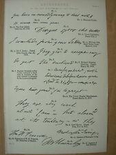 Antico 1880 Vittoriano stampa autografi del 19th Secolo