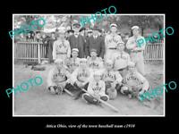 OLD POSTCARD SIZE PHOTO OF ATTICA OHIO VIEW OF THE TOWN BASEBALL TEAM c1910