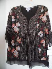 SAG HARBOR NEW Womens Brown Sheer Knit Printed 2Fer Knit Top XL