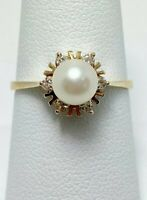 Sweet 6mm Pearl Diamond 14k Gold Ring (5103)
