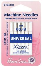 Tamaño 60/8 aguja para máquina de coser-Klasse Universal Agujas-Pack 5