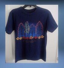 Adirondacks Lake Placid T-Shirt Blue Size Small Women's Trees Leaves