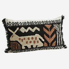 Black Boho Folk Embroidered Cushion 35x60cm Cream Rust Fringe Tassel Rectangle