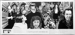 Castle Of Horror Movies Dracula Frankenstein Mummy Wolfman Poster 22 x 47