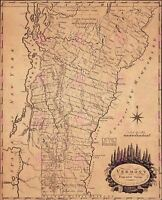 Map Antique Doolittle 1795 Vermont State Old Large Replica Canvas Art Print