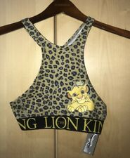 Disney The Lion King Simba Low Impact Racerback Sports Bra Crop Top Size Xs