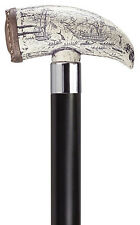 Harvy  Simulated Antique Scrimshaw Whale Tooth Walking Stick Cane-NEW