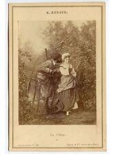 FAMOUS FRENCH PAINTING LA CHASSE BY LUCIEN RUDAUX PARIS CABINET CARD