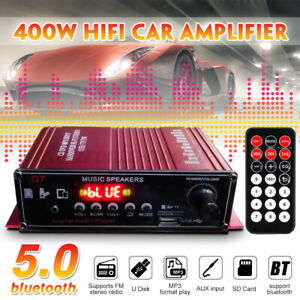 400W Digital Amplifier bluetooth 5.0 Mini 2CH HIFI Audio Stereo FM Radio MP3 AMP