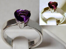 2.20ct color change 8mm heart alexandrite 925 sterling silver ring size 9 USA