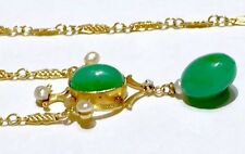 14k Victorian Chrysoprase natural seed pearls diamond Watch Chain like necklace
